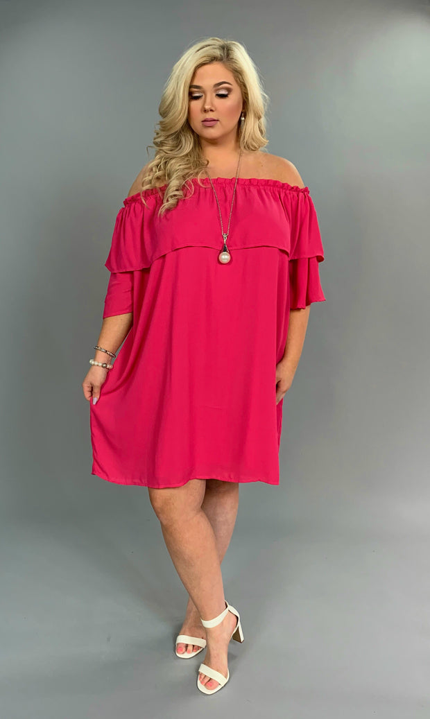 OS-i Fuchsia Off-Shoulder Cocktail Dress with Lining SALE!