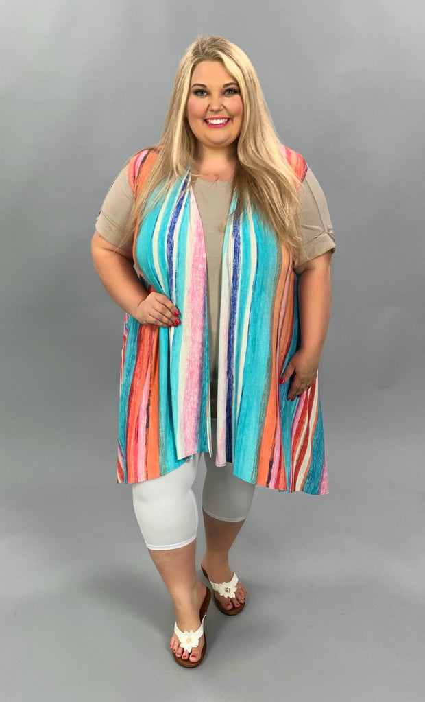 OT-D {Striped Candy} Multi Color Ombre Stripe Vest PLUS SIZE 1X 2X 3X