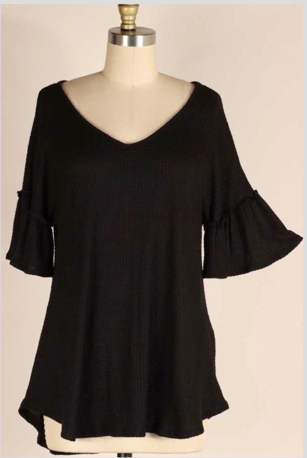 49 SSS-A {Forever Fling} Black Waffle Knit Bell Sleeve Top PLUS SIZE XL 2X 3X