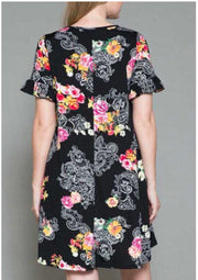 65 PSS-D {Queen Of The Scene} Black Floral Paisley Dress EXTENDED PLUS SIZE 4X 5X 6X