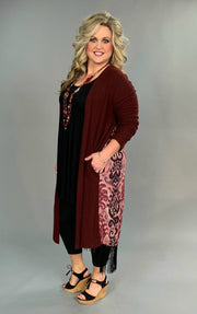 OT-A {Charming Choice} Wine Damask Cardigan with Fringed Detail