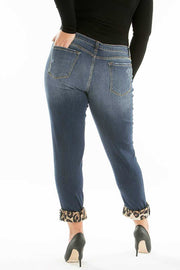 BT-M KanCan Denim Holey Jeans Leopard Patches & Hem