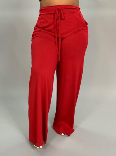 BT-C {Live Simply} Dark Red Lounge Pants W/ Drawstring