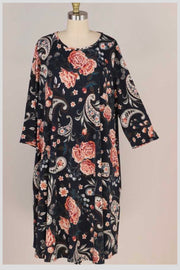 PQ-C {No Excuses} Black Rust Floral & Paisley Print Dress EXTENDED PLUS SIZE 3X 4X 5X