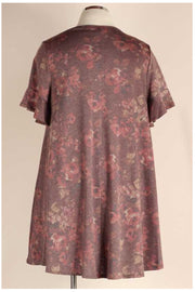 PSS-O {Never A Dull Moment} Brown & Rust Floral Print Dress EXTENDED PLUS SIZE 3X 4X 5X