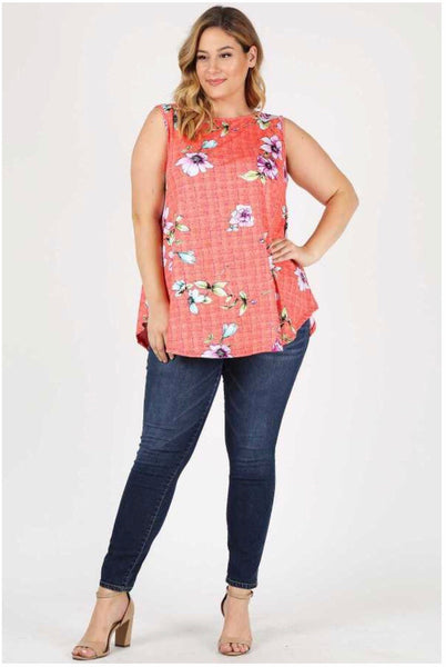 SV-T {Between You & I} Coral Sleeveless Top with Flower Print Extended Plus