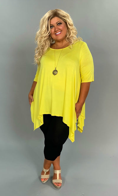 SSS-X {Cool Summer} Yellow Asymmetrical Short Sleeve Top Extended Plus SALE!!