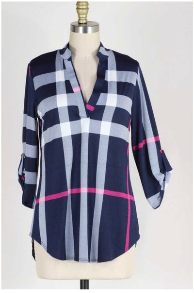 50 PLS-A  {Mountain Air} Navy Pink White Tunic EXTENDED PLUS SIZE 4X 5X 6X