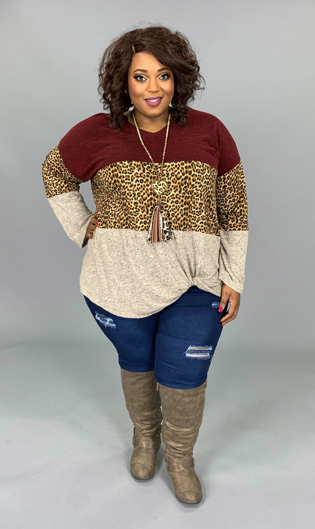 CP-F {Gonna Love It} Burgundy Leopard Contrast Top Extended Plus