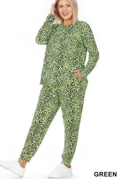 12-16 SET-A {Safari Lounge}  SALE!! Lime Black Leopard Lounge Set PLUS SIZE XL 2X 3X