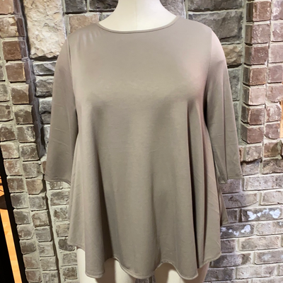 11-13 SLS-I {Simple Day} Mocha Solid Tunic EXTENDED PLUS SIZE 3X 4X 5X