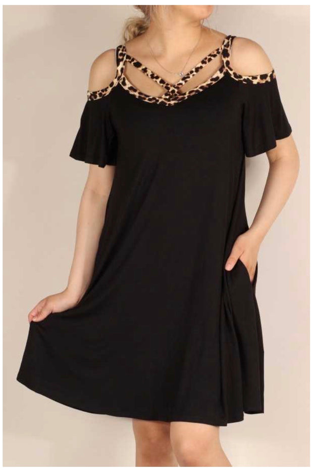 OS-F {Play Nice} Black Cold Shoulder Dress Leopard Neck Detail PLUS SIZE 1X 2X 3X SALE!!