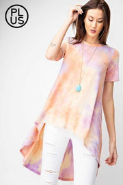 PSS-M {Peaceful Vibes} Yellow Orange Purple Tie Dye Hi-Low Tunic PLUS SIZE 1X 2X 3X