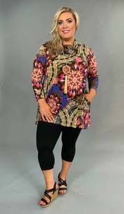 PLS-N Taupe/Candy Pink Medallion W/ Cowl Neck SALE!!