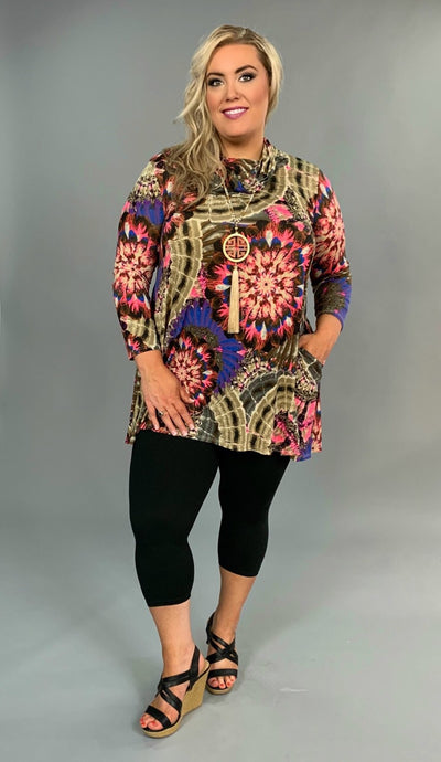 PLS-N Taupe/Candy Pink Medallion Tunic W/ Cowl Neck SALE!!