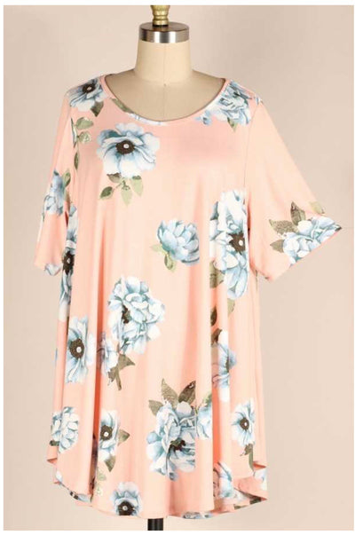 PSS-B {Life Is Splendid} Pink Tunic With Blue Flowers EXTENDED PLUS SIZE 3X 4X 5X