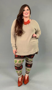 SLS-G {You Sang To Me} Khaki Waffle Knit Top with Split Sides PLUS SIZE 1X 2X 3X SALE!!