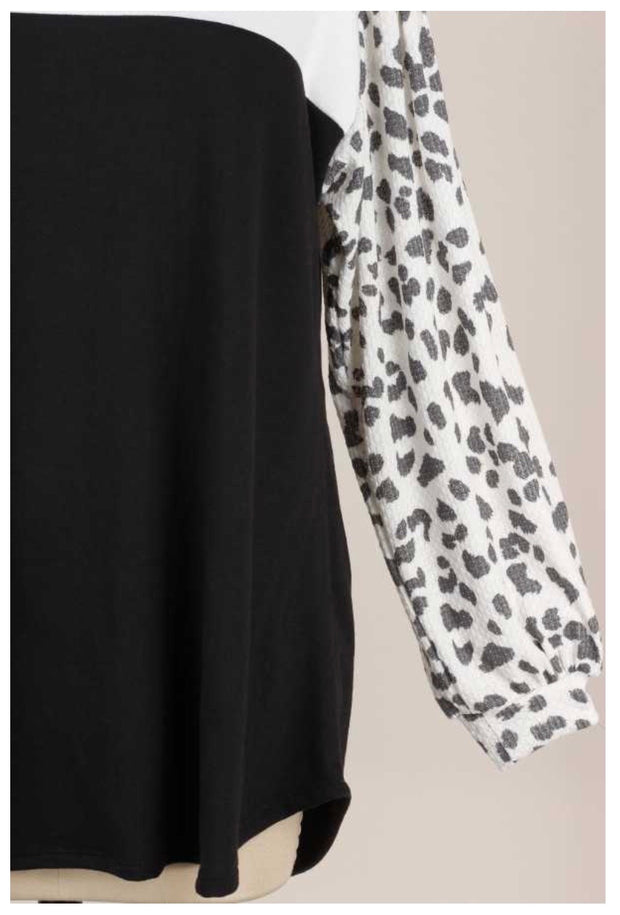CP-T {Life Changes} Ivory Black Grey Leopard Tunic EXTENDED PLUS SIZE 4X 5X 6X