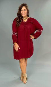 SD-V Burgundy Dress with Beaded & Embroidery Detail  FLASH SALE!