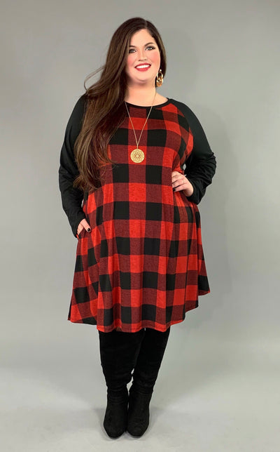 CP-T {My One True Love} Red/Black Plaid Contrast Dress Extended Plus