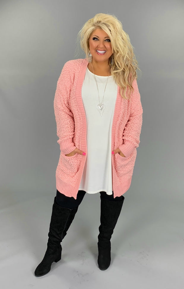 OT-Y {Treat You Better} Dusty Pink Popcorn Sweater Cardigan with Pockets SALE!!
