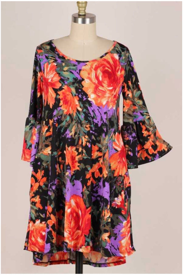 33 PQ-S {Moonlit Waltz} Black/Orange Floral Bell Sleeve Dress Plus Size 1X 2X 3X
