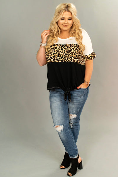 CP-L {Keep Smiling} Black/Leopard Contrast Top