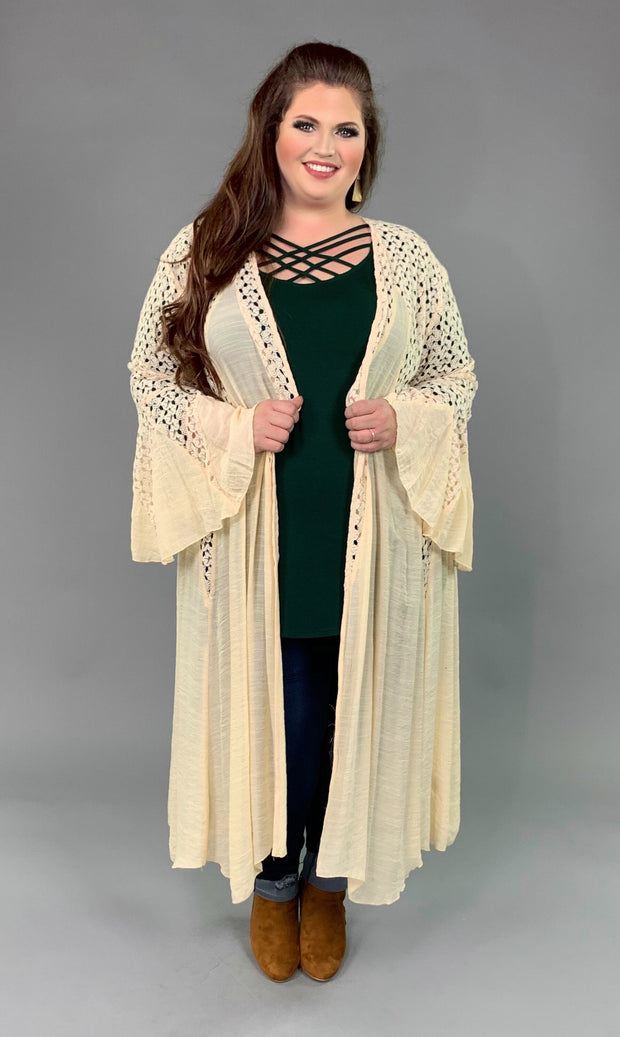 "OT-C {Lead Me On} ""UMGEE"" Long Cream Duster Lace Detail  SALE!!"