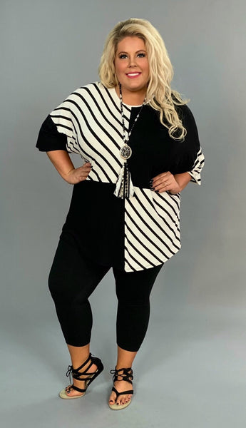 CP-G {Creative Chaos} Solid Black/Striped Contrast Top