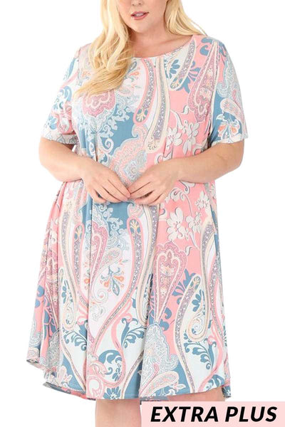 PSS-O/T{Sweeter Than Candy}Pink/Blue Paisley Dress EXTENDED PLUS SIZE 3X 4X 5X
