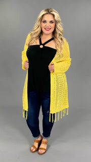 "OT-F {You A""Maize"" Me} Lt. Yellow  Cardigan with Fringe Detail PLUS SIZE 1X 2X 3X"