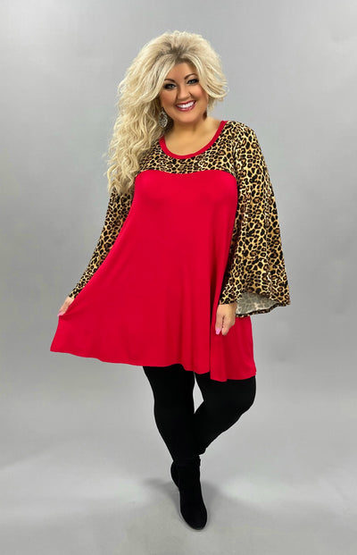 44 CP-B {No Greater Feeling}  SALE!! Red Leopard Contrast Tunic CURVY BRAND EXTENDED PLUS SIZE 3X 4X 5X 6X