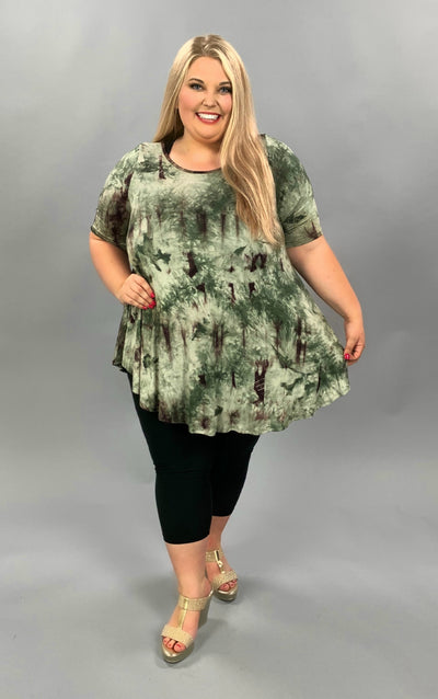 PSS-E {Call That Love} Green & Tan Tie Dye Round Hem Tunic EXTENDED PLUS SIZE 3X 4X 5X