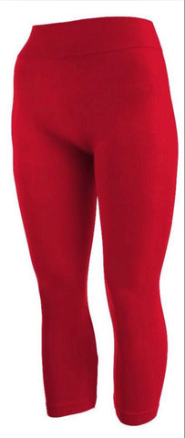 LEG/7- YELETE Red Capri Leggings (92 Poly 8 Spandex)