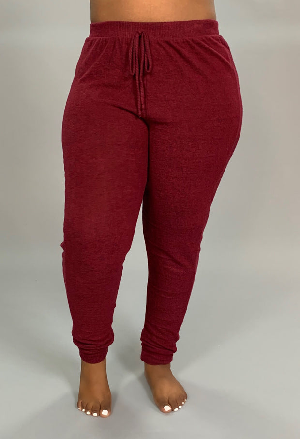 BT-I {The Best Of Fall} Burgundy Soft & Stretchy Active Pants