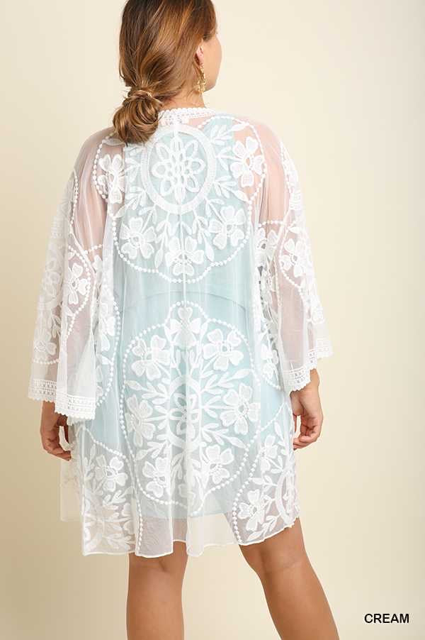 "51 OT-B {Hang Around Me}  ""Umgee"" White Lace Cardigan Plus Size XL 1X 2X"