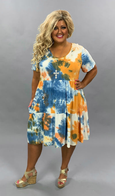 PSS-C {Let's Have Some Fun} Blue/Orange Tie Dye Tiered Dress PLUS SIZE 1X 2X 3X SALE!!