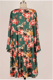 49 PQ-B {Everlasting Bloom} Green Floral Bell Sleeve Dress EXTENDED PLUS SIZE 3X 4X 5X