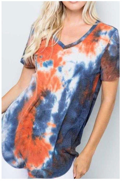 PSS-D {All Natural} Rust Orange/Navy Tie Dye Waffle Tunic EXTENDED PLUS SIZE 4X 5X 6X