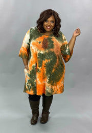 10-06 PQ-A {Better Here} Green Orange Tie Dye Dress EXTENDED PLUS SIZE 4X 5X 6X