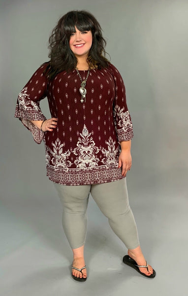 PQ-Q Wine Damask Print Tunic With Bell Sleeves