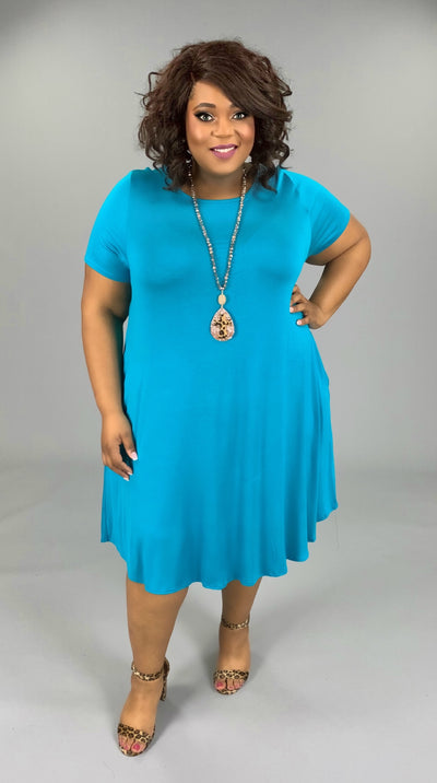 SSS-D (Set For Style) Turquoise Sold Dress W/ Pockets EXTENDED PLUS 3X 4X 5X