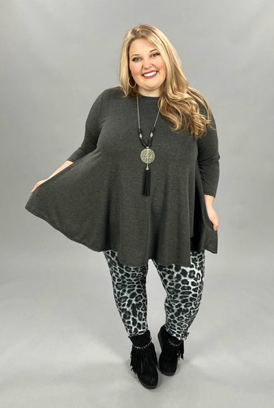11-13 SLS-M {Simple Day} Charcoal Solid Tunic EXTENDED PLUS SIZE 3X 4X 5X