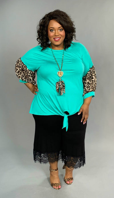 CP-N {Just Imagine} Mint Tunic with Leopard Bubble Sleeves Extended Plus SALE!!
