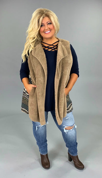 OT-A {Winter Snuggles} Mocha Fleece Vest with Aztec Contrast SALE!