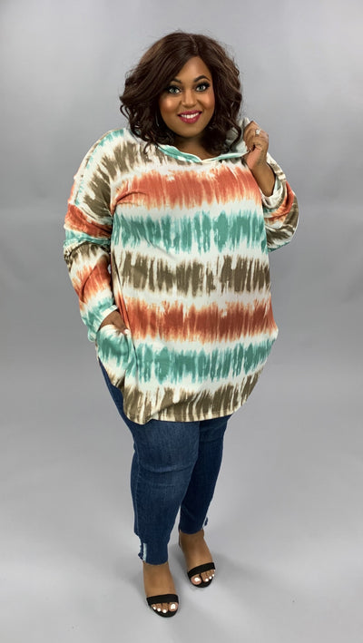HD-K {Call Me Maybe} Rust Teal Brown Ombre Tie Dye Hoodie EXTENDED PLUS SIZE 4X 5X 6X