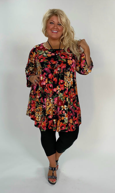 PQ-X {Best Day Ever} Floral Babydoll Tunic or Dress with Ruffle Sleeves Extended Plus