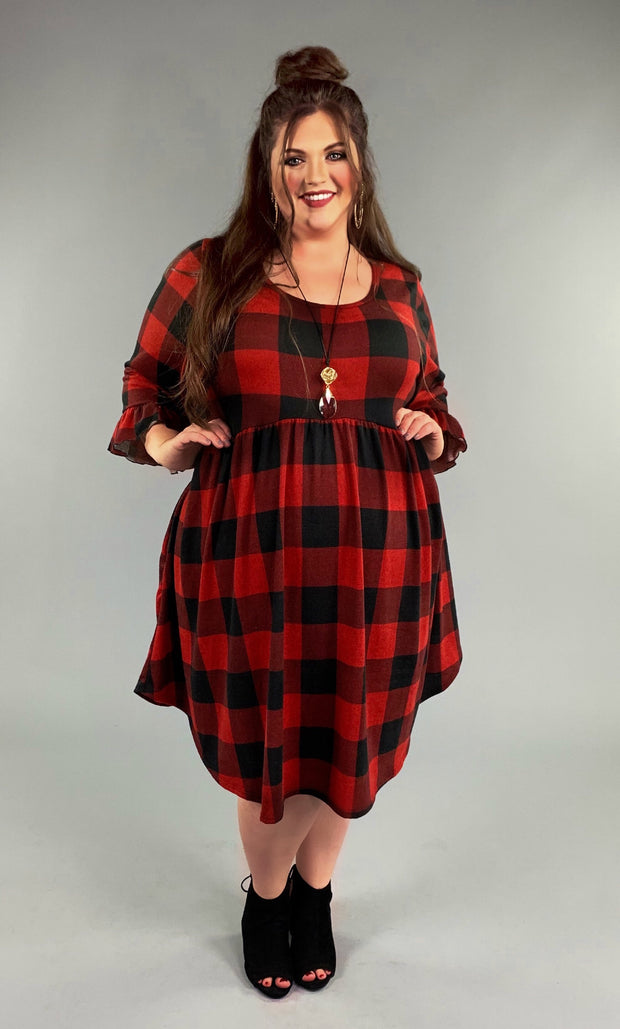 PQ-Z {Sweet Romance} Red/Black Plaid Knit Babydoll Style Dress Extended Plus