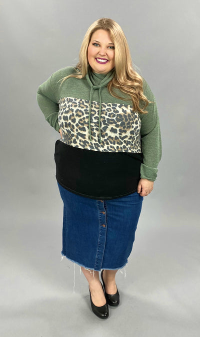 23 HD-A {Young In Love} SALE!!  Green Leopard Contrast Hoodie PLUS SIZE XL 2X 3X