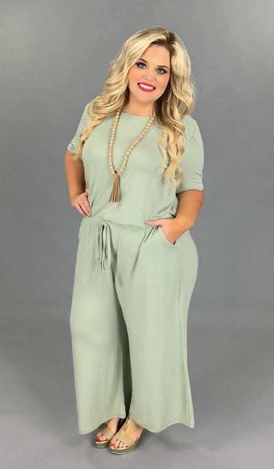 RP-G {Jump On In} Light Olive Jumpsuit with Tie Neck/Elastic Waist PLUS SIZE 1X 2X 3X